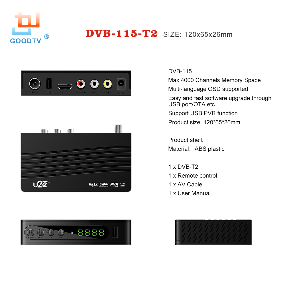 U2C DVB-T Smart TV Box HDMI DVB-T2 T2 STB H.264 HD TV Digitaalne - Kodu audio ja video - Foto 2
