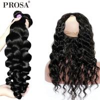 360 Lace Frontal With Bundle Loose Wave Bundles With Frontal 3 Human Hair Bundles With Closure Brazilian Hair Weave Remy Prosa