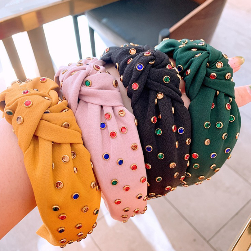 AWAYTR New Bohemian Fabric Knot Wide Hairband For Women Girls Handmade Headband Female Summer Color Rhinestone Hair Accessories