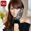GSG New Designer Purple Sexy Lace Leather Gloves Women Sheepskin Black TouchScreen Fur Gloves with Plush Elegant Gloves for Lady