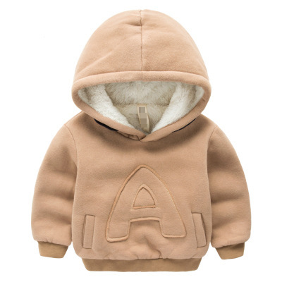 Детская зимняя плюс бархатные толстовки толстый хлопок Модная одежда для детей, Детская мода Обувь для мальчиков теплые кашемировое пальто одежда сплошной цвет букв