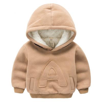 Crianças inverno Além de veludo hoodies camisolas casaco de Cashmere Grossa de algodão de Moda Bebê Meninos menina Quente roupas letras cor Sólida
