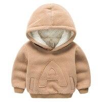 Winter Kids Plus fluwelen sweatshirts hoodies Dikke katoen Mode Baby Jongens meisje Warm Kasjmier jas kleding Effen kleur letters