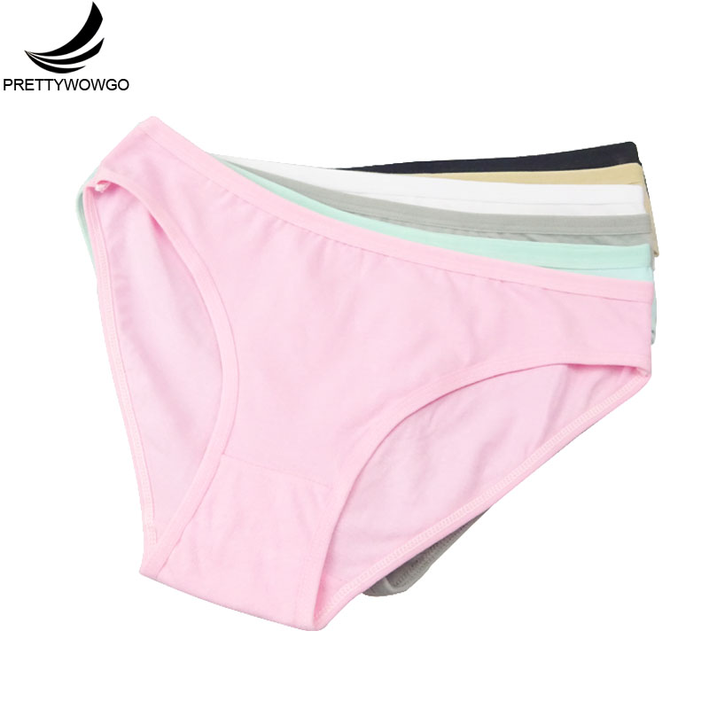 Prettywowgo 6 pcs/lot New Arrival 2018 Good Quality Women's Underwear Solid Color Cotton Cute Brief Panties 9173