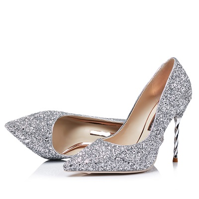 2018 New Spring Sequined Cloth Pointed-toe Thin Heels Sexy Shallow Mouth Gradient Color Crystal Wedding Party Single Shoes
