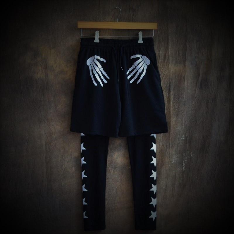 Zomer nieuwe tij sneldrogende elastische taille grotere maten joggingbroek slacks ademende print Mesh shorts Mode en personalit