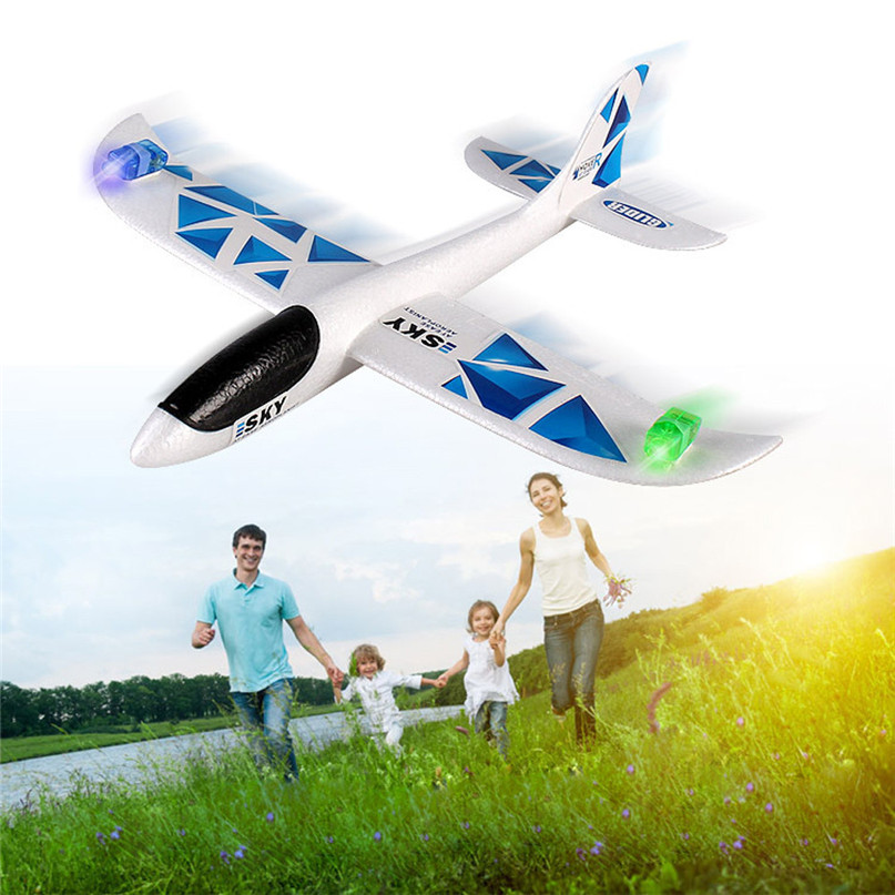 Foam Throwing Glider Airplane Inertia Led Night Flying Aircraft Toy Hand Launch Airplane Model Dropshipping,Free Shipping, GU30
