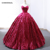 RSM66723 luxury rose red evening dress ball gown strapless wedding party dress sexy sleeveless ladies prom dresses 2019 newest