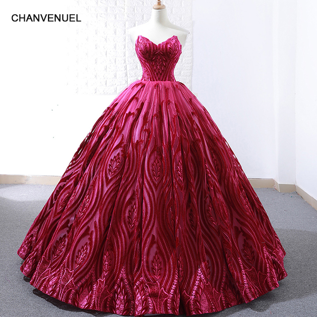 86619c063c2 RSM66723 luxury rose red evening dress ball gown strapless wedding party  dress sexy sleeveless ladies prom dresses 2019 newest