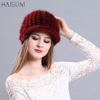 Korean version of autumn and winter mink hat children's knitted cap, mink hat, warm fashion, fur baseball cap MZ03
