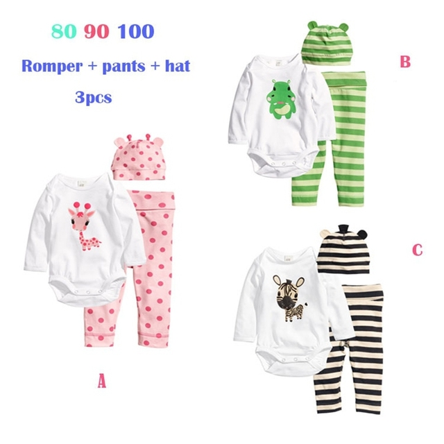 Cartoon Spring Baby Girl Clothes Jumpsuits + Pants + Cap Ropa De Bebe Menina Baby Girl Set Toddler Girl Clothes Infant Clothing