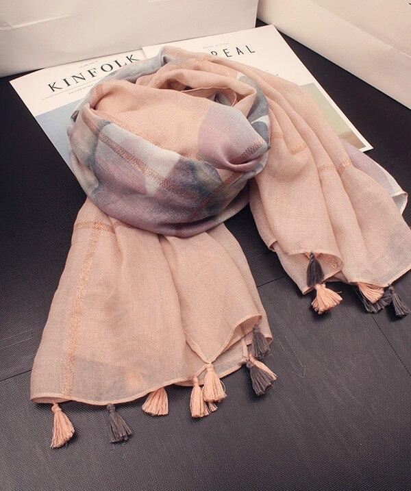 KYQIAO Women scarf luxury brand female autumn winter Spain style elegant classic long watercolour pattern scarves cape shawl