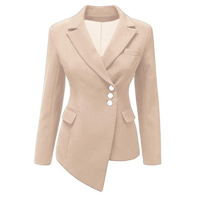 Office Lady Slim Blazer Women Autumn Suit Jacket Female OL Irregular White Womens Blazers with Pockets Business Blazer Mujer