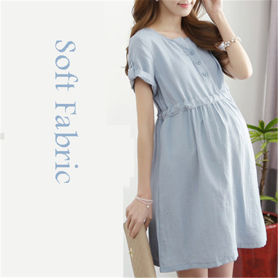 Pregnant Dresses Summer Spring Maternity Dress For Pregnant Women Clothes Casual New Vestido Para Embarazadas Pink Blue 70R0220