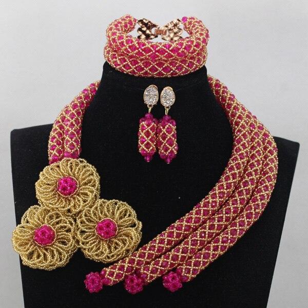 Великолепный розовый Африканский Бусины комплект ювелирных изделий фуксия золото в нигерийском стиле Свадебные Бусины комплект ювелирных...