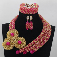Gorgeous Pink African Beads Jewelry Set Fuchsia Gold Nigerian Wedding Bridal Beads Jewelry Set More Colors Free Shipping WD726