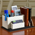 Leather pen holder office creative fashion multi - functional pen holder square combination pen holder leather desktop supplies