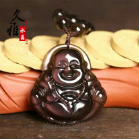 natural ice crystal Rainbow Obsidian Buddha belly pendant men's and women's wholesale
