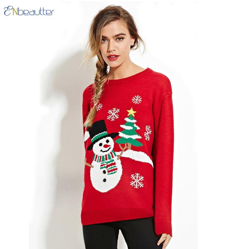 Christmas Tree Sweater Womens: ENbeautter Knitted Sweater Women Snowman Christmas Tree