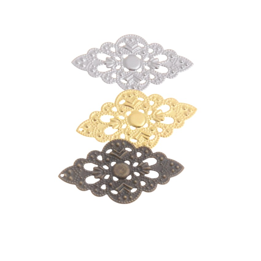 MIAOCHI 10Pcs Bronze/White K/Gold Filigree Wraps Connectors Crafts Gift Decoration DIY Embellishments Findings 5.2x3cm