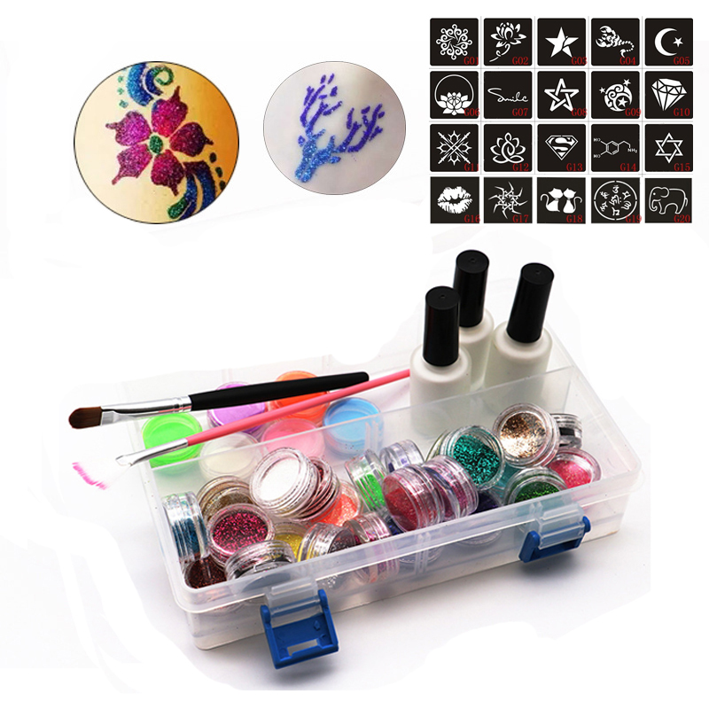 1 Set 24 Colors Glitter Powder Pigment Body Tattoo Paint Set Temporary Decal Fancy Women DIY Art Henna Stencil + Brush+ Glue Kit