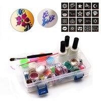 1 Set 24 Colors Glitter Powder Pigment Body Tattoo Paint Set Temporary Decal Fancy Women DIY Art Henna Stencil + Brush+ Glue Kit