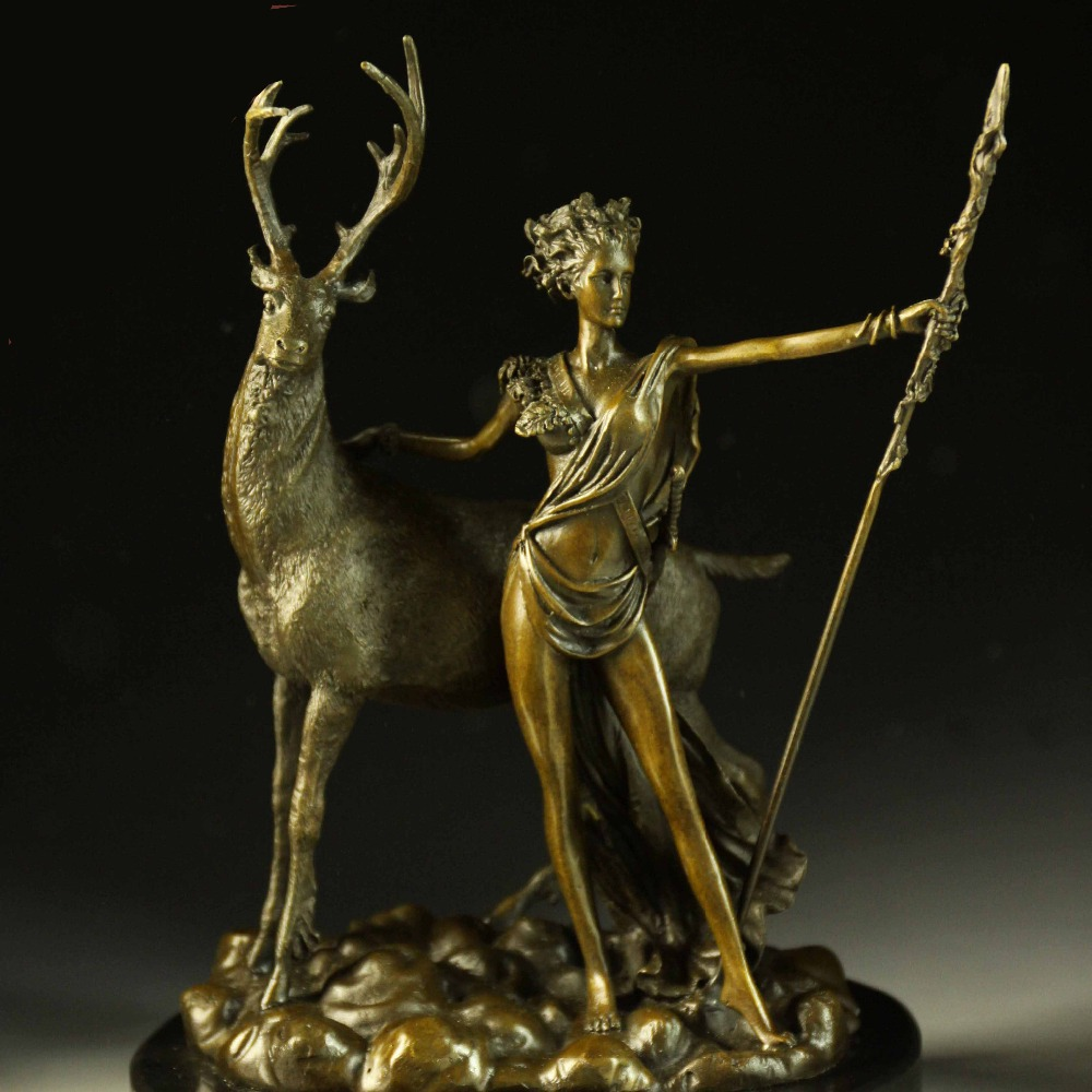 Western home decoration beauty and the deer for new year present sculptures statues