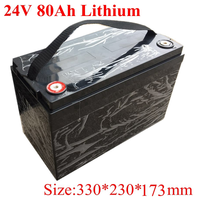 Waterproof 24v 80ah Lithium Ion Battery BMS 7S for 1500W Motor Electric Bike House Hold Electric