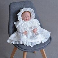 Baby Dress Infant Girls Long Sleeve Retro Petal Lapel Satin Lace Dress +Hat Toddler Girls Christening Clothing Birthday Clothing