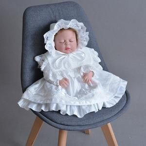 Robe en Satin pour bébés filles | Vêtements à manches longues, en dentelle, à revers avec pétales rétro, chapeau pour baptême et anniversaire, pour tout-petits