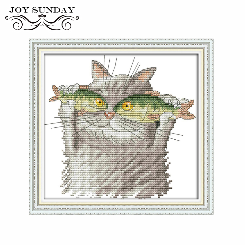 Joy Sunday Counted Cross Stitch Cotton DMC Cat Patterns Cross Stitching Printed Canvas Embroidery Kit DIY Needlework Aida Fabric (2)