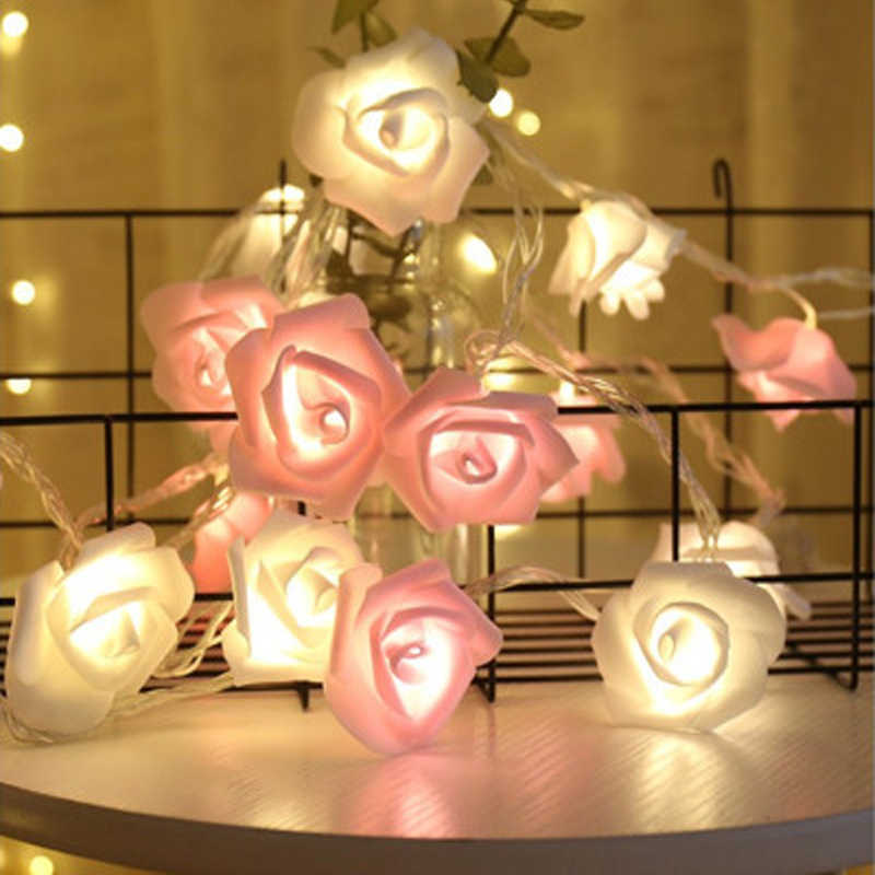 1.5/3/4.5/6M LED String Lights Flower Bouquet Fairy Lights Foam Rose Garland For Valentine's Day Wedding Party Garden Decoration