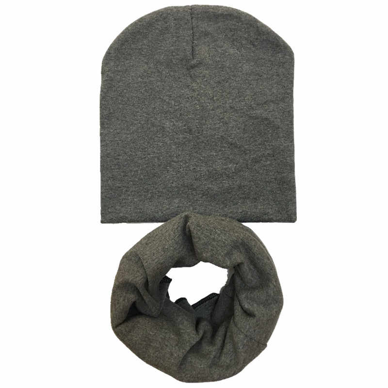 2019 ใหม่ฤดูใบไม้ผลิแฟชั่นสีทึบเด็ก beanies + ชุดผ้าพันคอเด็กผ้าพันคอและหมวกเด็กหมวกปลอกคอ