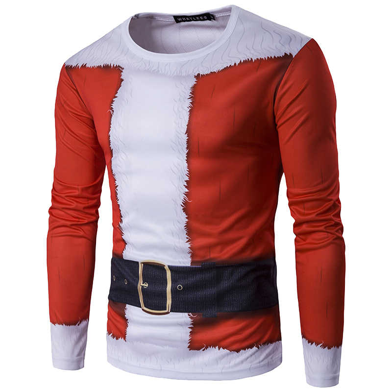 חדש חג המולד 3D הדפסת T חולצת גברים סתיו ארוך שרוול חולצה חורף קרדיגן עניבת הדפסת זכר קרטון מצחיק חולצה Camiseta דה hombre