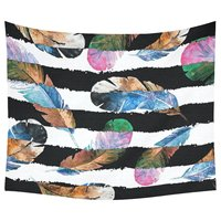 Black and White Stripe Home Decor Tapestries Wall Art,Watercolor Feather Pattern Tapestry Wall Hanging Art Sets