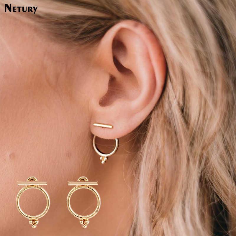 11508f17576c Nuevo simple ronda Europa estilo Pendiente de oro para las mujeres de Metal  combinación clásica de