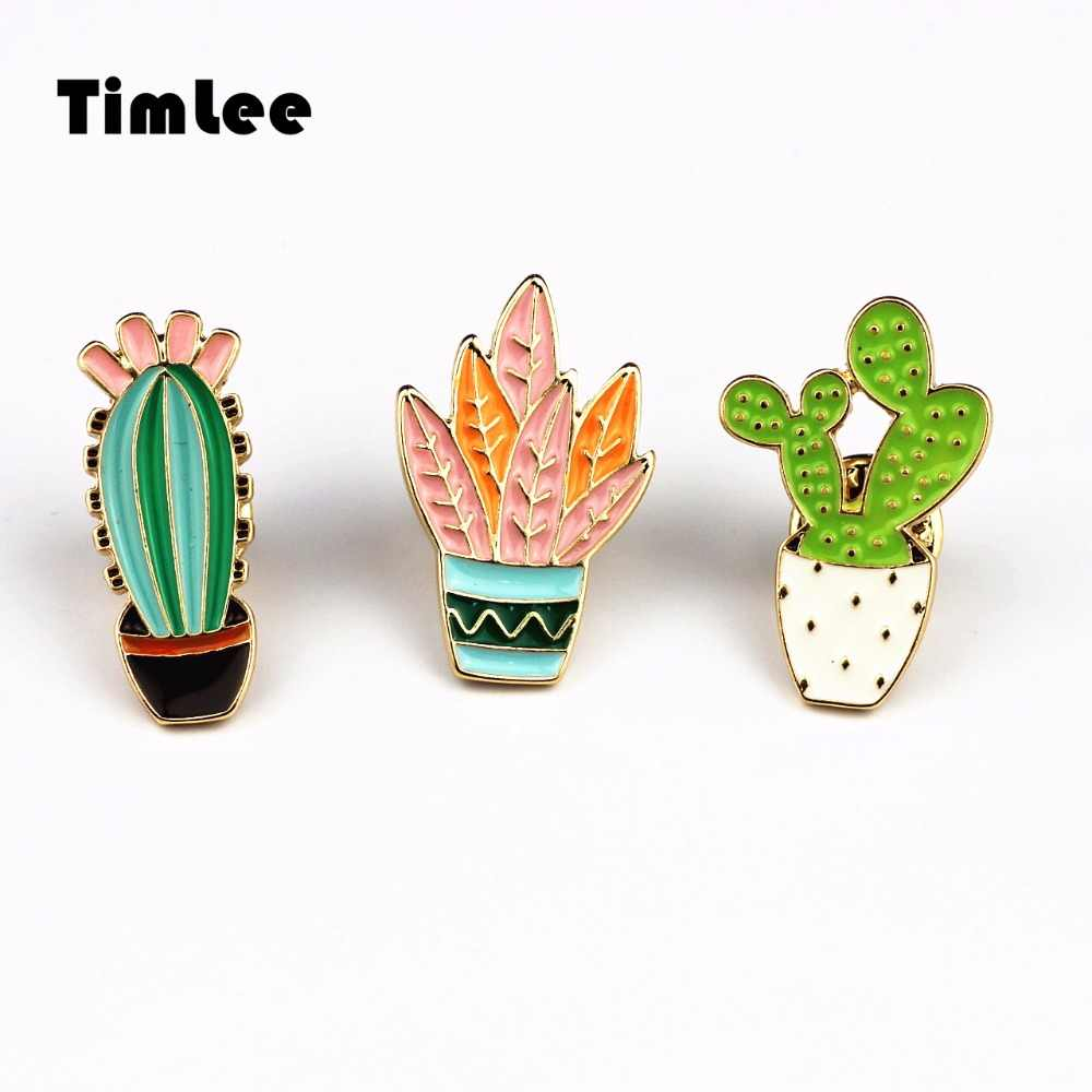 Timlee X230 Free shipping Lovely Delicate Cactus Brooch Pins,Fashion Jewelry Wholesale