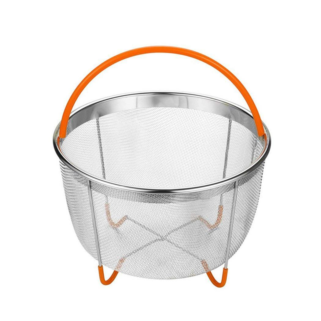 Durable Large Capacity Food Steamer Basket Kitchen Food Basket 10cm/3.9inch Orange, Black