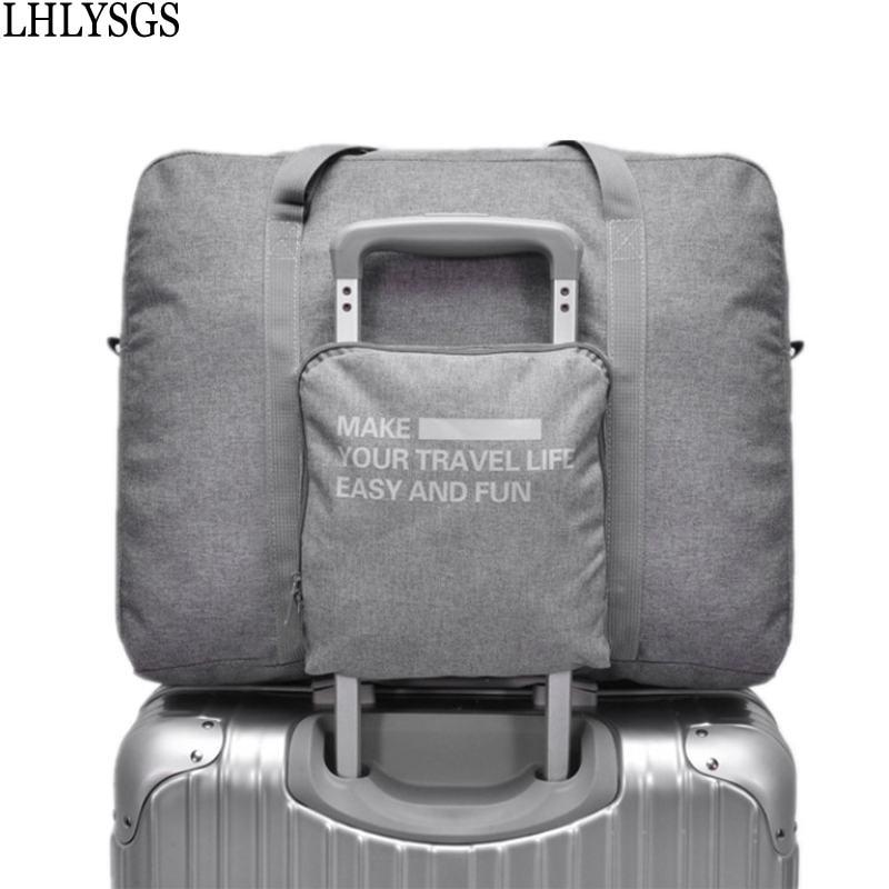 LHLYSGS Brand Women Fashion Large Capacity Trolley Travel Bag Mens Waterproof Suitcase Luggage Bag Portable Folding Duffle Bag
