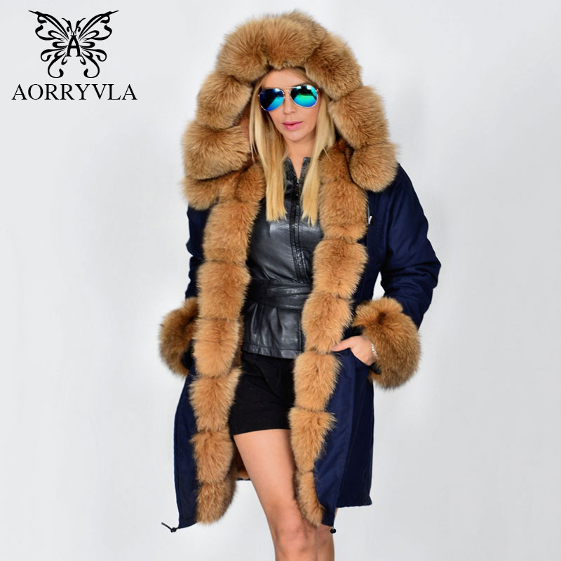 AORRYVLA Fur Parka For Women Winter 2017 Luxurious Real Fox Fur Collar Hooded Long Coat Thick Warm Detachable Lining Lady Parka 2017 winter new clothes to overcome the coat of women in the long reed rabbit hair fur fur coat fox raccoon fur collar