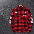 2016 de grandes dimensões Tyga legal camisetas T homens hip hop vermelho Tartan mma XXL camisa xadrez top hba kanye presa em Aplicar para homens e mulheres
