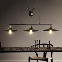 3 heads Retro loft chandelier living room dining room pendant lamp vintage restaurant bar club office cafe light droplight
