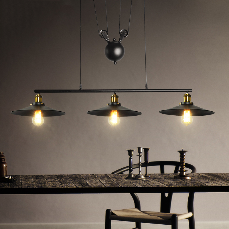 3 heads Retro loft chandelier living room dining room pendant lamp vintage restaurant bar club office cafe light droplight