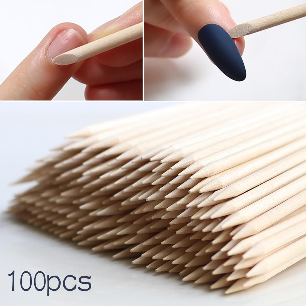 Dismount Wood Stick Nail Art Design Sticks Cuticle Pusher Remover Manicure Pedicure Care Stick 100pcs wholesale Nail must