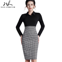 Long Sleeves Victoria New 2014 Winter Dress Vintage Women Formal Plaid Turn Down Collar Wear Work