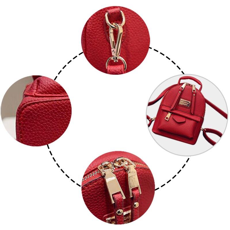 Image 2 - Fashion Wobag Backpacks Woman 2019 Mini PU Leather Backpack Female Solid Color Bookbag Gift Backbag Backpack Schoolbag For GirlsBackpacks   -