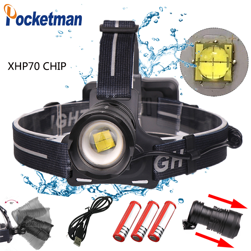 2019 New 50000lm Led Headlight Xhp70 Waterproof Zoomable With Micro Usb Charging 3 Modes For 3*18650 Z45