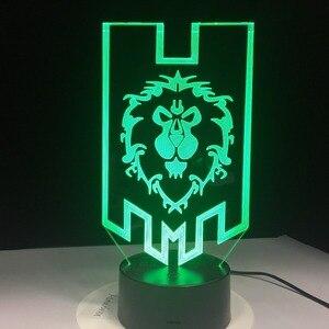 Image 4 - World of Warcraft 3D HA CONDOTTO La Lampada La Alleanza Tribale Segni Remote Touch Control Luce di Notte del USB Lampada Da Tavolo Decorativa Amico trasporto libero del Regalo
