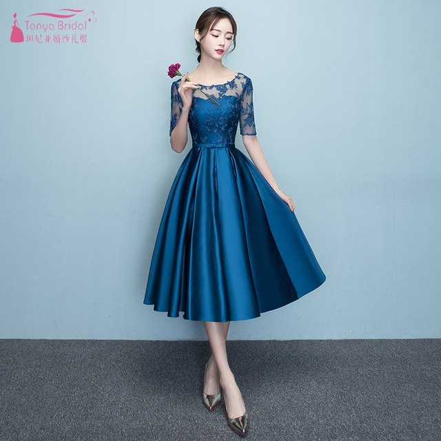 2a4e574d847 Blue Wedding Guest Dress Tea Length A Line Half Sleeve Lace Satin Bridesaid  Dresses For Wedding