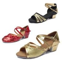 Free Shipping Women Girls Ladies Latin Dance Ballroom New Fashion Children Shoes Satin Tango Salsa Gold